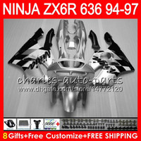 1996 kawasaki ninja zx6r großhandel-8Geschenke 23 Farben Für KAWASAKI NINJA ZX636 ZX6R 94 95 96 97 ZX 636 ZX 6R 33NO54 Silber schwarz 600CC ZX-636 ZX-6R 1994 1995 1996 1997 Verkleidung