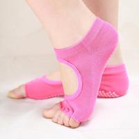 Wholesale Yoga Half Toe Socks - Backless 1Pair=2PCS Half Toe Yoga Socks Non-Slip Peep Toe Anti-Slip Pilates Ankle Grip Durable Open Half Five Fingers Cotton Yoga Socks