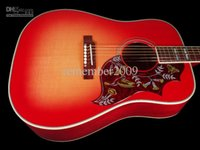 Wholesale Solid Spruce Top Inches Humming Cherry Sunburst Vintage Acoustic Electric Guitar Split Parallelogram Inlay Red Turtle Pickguard