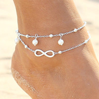 Barato Sexy Pé Senhora-De alta qualidade Lady Double 925 Sterling Silver Plated Chain Ankle Pulseira de tornozelo Sexy Barefoot Sandal Beach Foot Jewelry