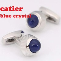 Wholesale Copper Cufflinks - CT NEW New Brand Cufflinks Novelty Blue Opal Design Gold Plating Best Men CuffLinks For Gift