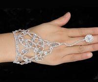 pulseira de anel de dedo nupcial venda por atacado-Nupcial Anel de Dedo Mão Pulseiras de Casamento Mulheres Jóias Rhinestone Anel de Dedo Mão Arnês Mão Harness Bangle