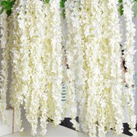 Wholesale Floral Wedding Arches - Upscale artificial flower hydrangea wisteria flowers vines wedding arch marrige party Garlands Floral Decoration rattan free shipping