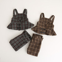 Wholesale Wool Shorts Baby Girl - Autumn Kids Plaid Sets Baby Girl Wool blends Tank tops with Short pants 2017 Babies Fashion Casual Outfits