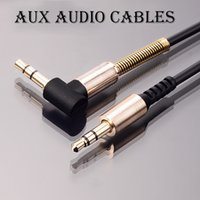 Wholesale Flat Steel Coil - 3.5mm Male to Male Auxiliary Stereos Audio Cable Cord Flat 90 Degree Right AUX Cable with Steel Spring Relief for Headphones i7 s8 Home Car