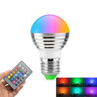 télécommande d'éclairage rgb achat en gros de-E27 E14 LED 16 couleurs changeantes RVB rgbw ampoule lampe 85-265V RVB Led lumière projecteur + IR télécommande