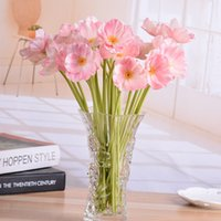 Vente chaude 12,9 '' Mini Poppy Bouquet Artificial Flower Vente en gros Chine PU Latex Décoration de mariage 24X Real Touch Office Decor