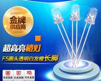 contas de laranja transparente venda por atacado-Atacado-1000PCS / LOT linha de grânulos de lâmpada LED 5MM / F5, cabelo branco laranja, pernas longas transparentes ultra-brilhantes diodos emissores de luz