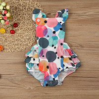Wholesale Colorful Rompers - Ins Baby Colorful Balloon Printed Ruffle Rompers Girl Princess Summer Cross Suspender Cotton Jumpsuit Bodysuit