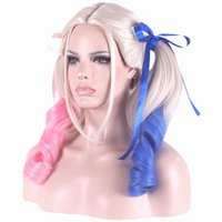 Wholesale Double Cosplay Wig - Harleen Quinzel Double Ponytail Long Cosplay Hair Wigs Side Bang Heat Resistant Cartoon Mix Color with Hair Net