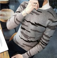 Wholesale Korean Men Casual Knitted Sweater - Mens Sweatshirt Sweater Camouflage Pattern O Neck Long Sleeve Slim Fit For Man Casual Fashion Pullover Korean Style Hot Sale Free Shipping