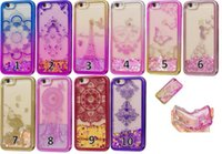 Wholesale skins move - Chromed Bling Liquid Quicksand Soft TPU Case For IPhone Plus S SE S Glitter Lace Flower Plating Moving Powder Eiffer Tower Skin