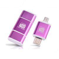 lecteur flash de carte chinoise achat en gros de-Lecteur de carte OTG 2 en 1 Adaptateur USB vers micro USB OTG avec lecteur de carte TF / SD pour Samsung s7 note 5 PC