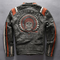 Wholesale Grey Jacket Leather Sleeve Men - Vintage man leather jacket Harley motor coat cowhide AVIRE FLY motorcycle jacket genuine leather Rock aircraft clothes embroidery