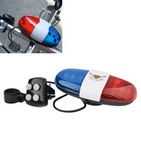 Wholesale Scooters For Kids Wholesale - Bicycle Bell 6LED 4Tone Bicycle Horn Bike Call Police Car LED Bike Warning Light Electronic Siren Kids Accessories for Bike Scooter toys