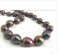 Wholesale Pearl Necklace 14kg - 12-13mm tahitian black red green pearl necklace 20inch 14KG