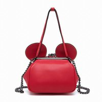 Wholesale Women Kissing Leather - Wholesale-Bearberry 2016 Women Leather Handbag With A Kiss Lock Mouse Ear Messenger Crossbody Bags For Fashion Girls Clutches Purses Party