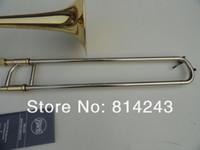 Wholesale brass trombone resale online - Bach Brand New Eb Alto Trombone Brass Body Gold Lacquer Surface Trombone E Flat Student Horn Nice Sounds Tuba Instrument with Case