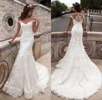 Wholesale Design Beach Wedding Dress - Cheap 2017 New Design Mermaid Wedding Dresses Vintage Scoop Neck Appliques Short Sleeve Lace Vestido De Noiva Bridal Dresses CPS542