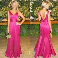 Wholesale Prom Dress Bright - 2017 New vestidos Bright Fuchsia Evening Dresses Sexy Backless V Neck Long Mermaid Formal Party Gowns Prom Dresses