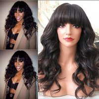 Wholesale Gluless Lace Wigs - Super soft unprocessed brazilian virgin human hair natural loose wave with bangs gluless full lace lace front wigs for black women