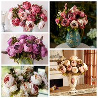 Wholesale Wholesale Artificial Peony Head - New Arrival Artificial Peony 8 Heads Silk Flower Bouquet Vintage Artificial Flowers For Decor Bridal Wedding Hotel Home Decoration 105-1009