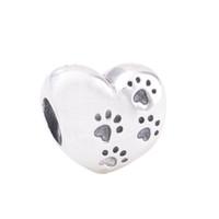 perla de plata perro encanto al por mayor-Auténticos 925 granos de plata esterlina Mi dulce encanto para mascotas se adapta a joyas de estilo Pandora europeo collar 791262 pata
