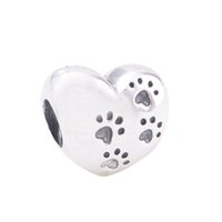 Wholesale Paw Music - Authentic 925 Sterling Silver Beads My Sweet Pet Charm Fits European Pandora Style Jewelry Bracelets & Necklace 791262 dog paw