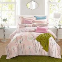 Wholesale Natural Silk Comforter Bedding Set - Countryside rural Dandelion pink 100% natural Tencel silk 4pcs princess bedding set duvet cover bed sheet pillowcase set 3594