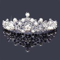 hochwertige köder kronen großhandel-Top Qualität Perle Königin Krone Brautschmuck Hairbands Für Hochzeit Pageant Party Brautschmuck Freundin Beste