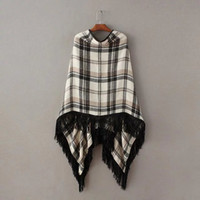 Wholesale Ladies Cape Style Coats - 2016112116 Women vintage plaid cape sweaters wrap swing loose tassels shawl poncho coat pullovers ladies winter warm brand tops