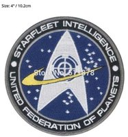 "Wholesale Star Trek Uniforms - 4"" STAR TREK STARFLEET INTELLIGENCE Command Comic Logo Uniform Movie TV Series Costume Cosplay Embroidered Emblem iron on patch"
