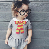 Wholesale Baby Lapel Romper - baby costumes summer romper INS doll lapel stripe bows Girls Jumpusuit Cute Ruffle Short Sleeve Toddler Bodysuit C385