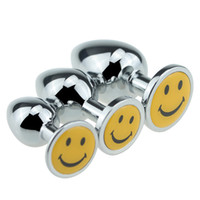 Wholesale Sex Toy Face - Three sizes smiling face stainless steel anal plugs anal massage adult sex toys anal toys Prostate massage Adult Products Butt Plug
