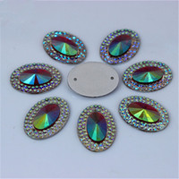 200Pcs 13 * 18mm AB Овальная смола Rhinestone Stones Flatback Cabochon Beads Button Resin Crystal Аксессуары Sew on 2 Hole ZZ297H