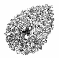 """Wholesale Red Heart Pin Vintage - 4.35"""" Extra Large Vintage Style Rhodium Silver Plated Rhinestone Crystal Diamante Wedding Brooch Jewelry Gifts"""