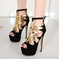 Gorgeous Prom Gown Robe chaussures Black Gold Metal Hollow Out Plateforme cheville Bootie Taille 34 à 40