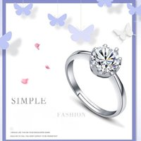 Wholesale adjustable ring nail - 925 Silver Zircon Crystal Crown Ring Adjustable Finger Ring Nail Rings for Women Bride Wedding Jewelry Drop Ship 080169