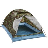 камуфляж летние палатки оптовых-Открытый 200*140 * 110 см ткань Оксфорд PU водонепроницаемое покрытие 4 сезона 2 человек один слой камуфляж кемпинг туризм палатка