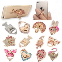 Wholesale Unique White - Ring Phone Holder Unique Mix Style Cell Phone Holder Fashion for iphone 8 7 6s Samsung S8 cellphone stand with retail package