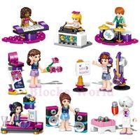 Wholesale Block Guitar - 8pcs set Music Girl Guitar Piano Drum Building Blocks Bricks Kids Mini Model Toys Gift Kids Children