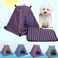 Wholesale Pyramid Dog Beds - Summer Pet Dog Cat Kennel Removable Detachable Waterproof Oxford Cloth Pet Tent Stripe Style Outdoor Travel Pet Bed Supplies HH-T53