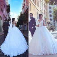 Wholesale Corset Vestido Novia - 2017 Arabic Wedding Dress Vestido De Novia Ball Gown Wedding Dresses Sweetheart Straps Illusion Lace Appliques Tulle Corset Bridal Gown
