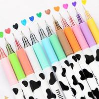 Wholesale Pen Cow - Wholesale-12color Milky cow diamond head day Gel pen 2015 New pens zakka kawaii Stationery Canetas escolar Office material school supplies