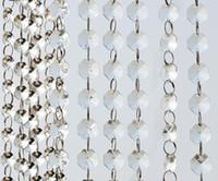 cristal acrylique 14mm achat en gros de-14mm Cristal Clair Acrylique Hanging Beads Chain anneau argenté Guirlande Rideau Chandelier party mariage XMAS Arbre décoration événement fournitures