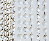 cortinas de cristal guirlanda venda por atacado-14mm Crystal Clear Acrílico Pendurado Beads Cadeia anel prateado Guirlanda Cortina Lustre de casamento do partido XMAS Decoração da árvore de suprimentos de eventos