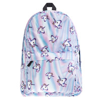 Wholesale Mini School Bags - Wholesale- Hot Selling Who Cares New Brand School Backpack Emoji 3D Holo Unicorn Print Unisex Daily Backpack Soft Handle Bag For Men Women