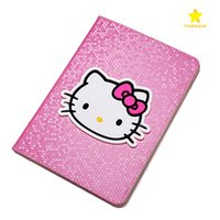 Wholesale Ipad Patent Leather Case - PU Leather Cover Case Hello Kitty Carton Wallet Case with Stand Holder for Apple iPad Mini 1 2 3 iPad 2 3 4 Mini4 Air1 2 3 iPad Pro