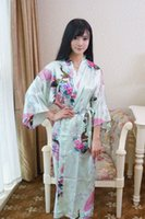 Wholesale Chinese Wedding Ladies Dress - Wholesale- Light green Chinese Lady Bathrobe Silk Rayon Long Kimono Bath Gown Bridesmaid Wedding Sexy Nightgown Dress One Size T026