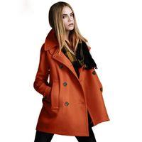 casacos de peito venda por atacado-Moda de Nova estilo Outono Estilo Solto Lã Sólida Double-Breasted Outerwear Mulheres Casacos Estilo Europeu Frete grátis